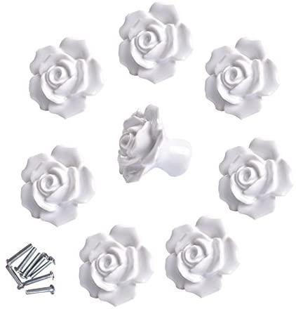 8 Pcs Ceramic Vintage Floral Rose Flower Door Knobs Handle Drawer Kitchen + Screws (White)