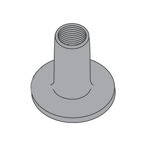 10-32 Round Base Weld Nuts/No Projections/Steel/Plain / 9/32' Barrel Height / 3/4