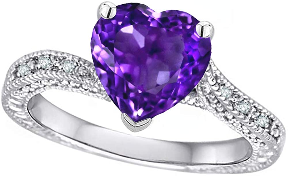 Star K 10k White Gold Antique Vintage Style Heart Shape 8mm Solitaire Engagement Promise Ring