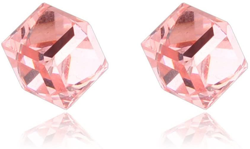 Lottoy 1 Pairs Weight Loss Magnetic Water Cube Ear Stud for Women Girls Health Magnet (Pink)