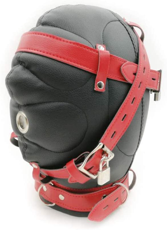 chefensty Leather Face Lace Up Hood Closed Headgear,Strap Lock Erotic Bondage SIX Toy