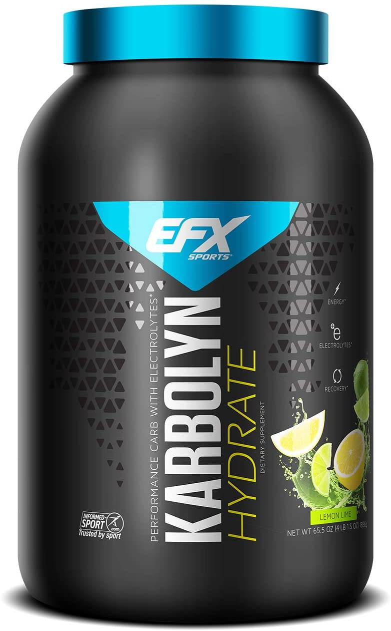 EFX Sports Karbolyn Hydrate | Sugar-Free Sports Drink | Carbohydrate Supplement Powder + Electrolytes | Carb Load, Energize, Improve & Recover Faster | Easy to Mix | Lemon Lime (4 LB 1.5 OZ)