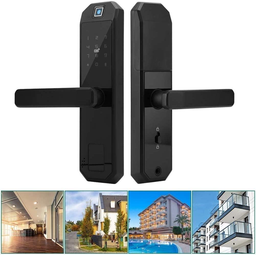 LFEWOZ Security Hotel Smart Password Door Lock, Biometric Touch Screen Smart Compatible Fingerprint Lock for Home Office Apartment