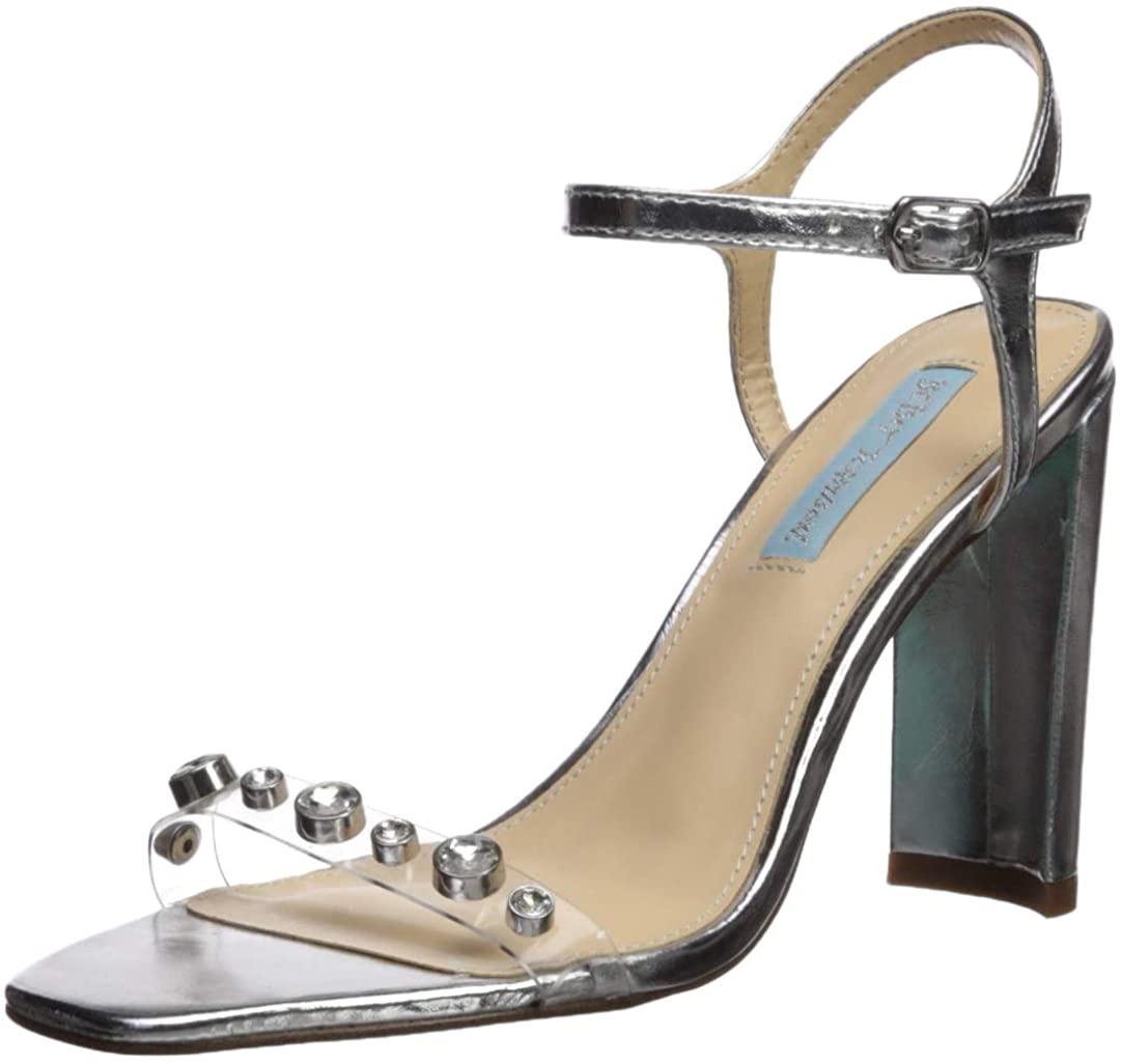 Betsey Johnson Blue Women's SB-Brady Heeled Sandal, Silver, 7.5 M US