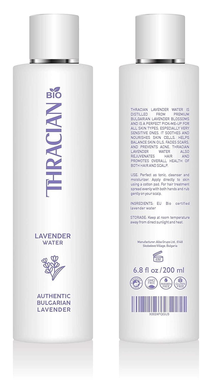 Thracian BIO 100% Pure Bulgarian Lavender Floral Water, Skin and Hair Toner, Anti-Aging, 6.8 fl oz, 200 ml, Distilled in Bulgaria, No Added Fragrance, Vegan, Cruelty-Free, Alcohol Free
