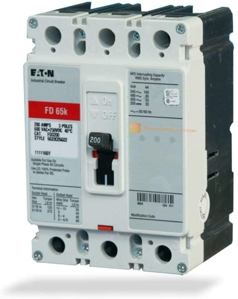 New Cutler-Hammer Eaton FD3225 Circuit Breaker 3 Pole 225A 600V F Frame FD 35k