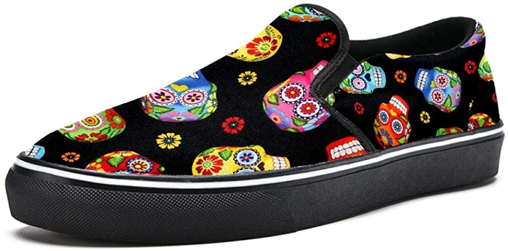 Sugar Skulls Canvas Shoes Lightweight Loafers Shoe for Woman
