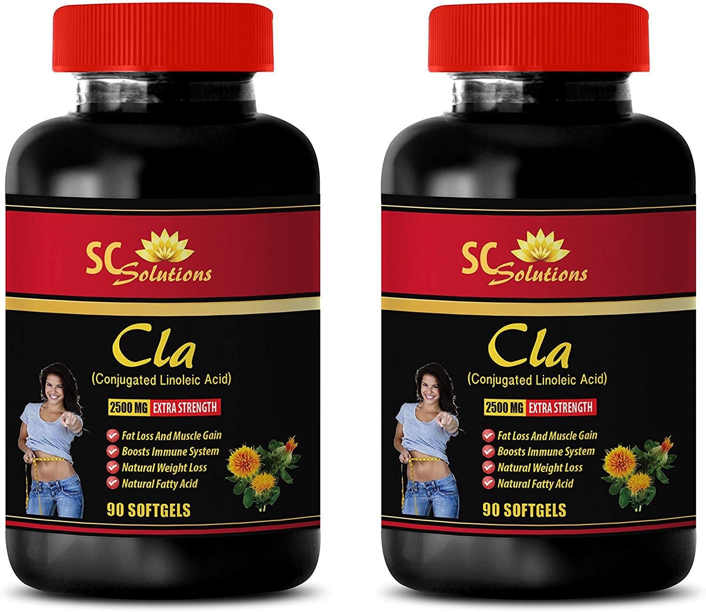 Fat Burner Appetite suppressant for Men - CLA 2500MG - Extra Strength - cla Supplements - 2 Bottles (180 Softgels)