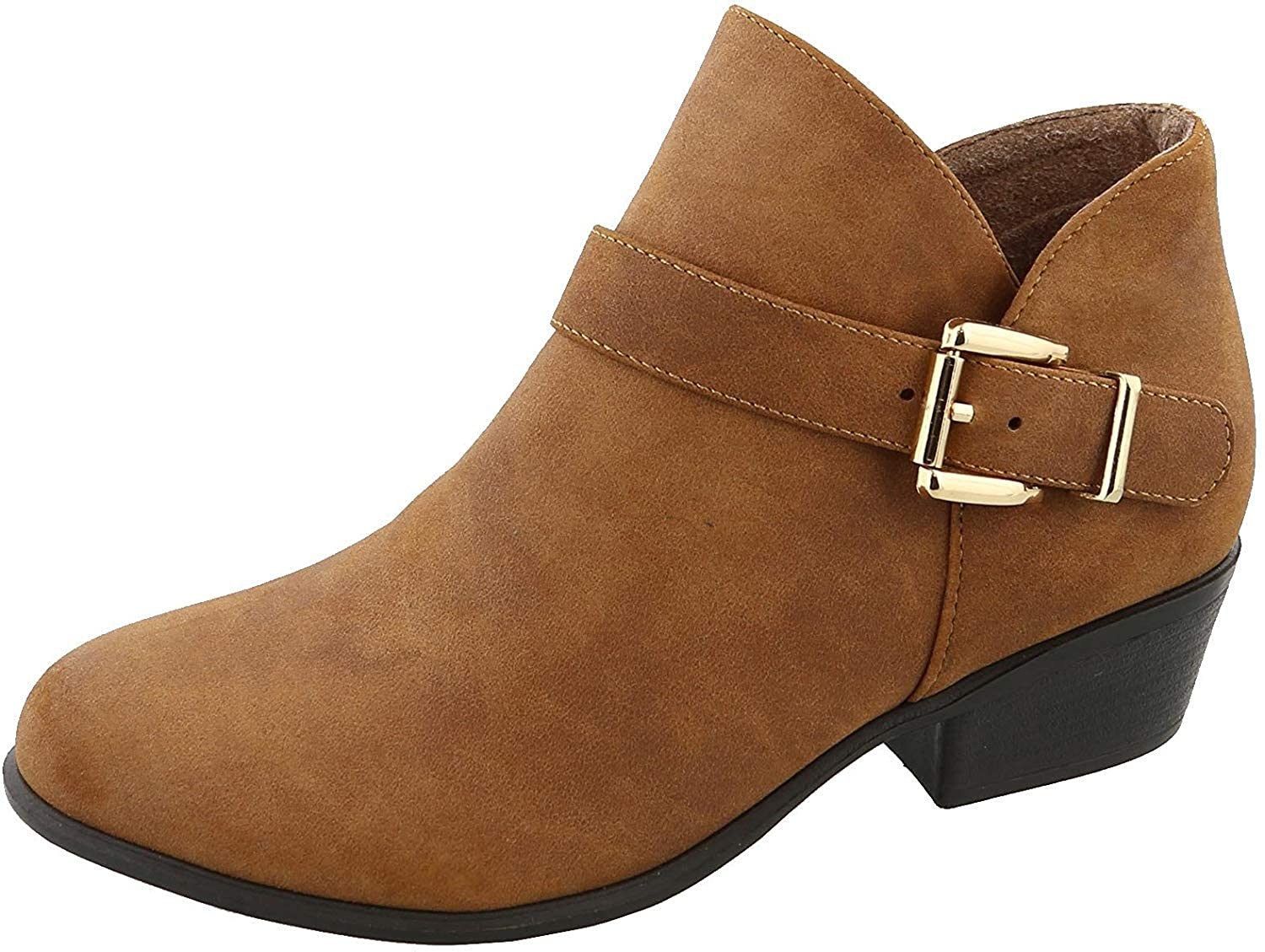 Top Moda Women's Buckle Accent Heeled Ankle Bootie