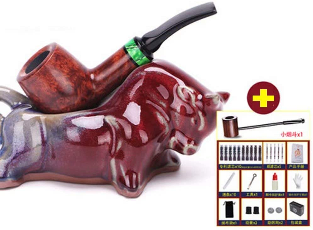 LP-LLL Tobacco Smoke Pipe - Tobacco Pipe,Ebony logs are not Painted,Wooden Tobacco Smoking Pipe, Hand Carved, Cigar Accessories,Fits 9mm Filter
