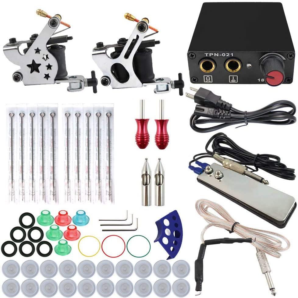 Complete Tattoo Machine Kit Set 2 Coils Guns 5 Colors Black Pigment Sets Power Tattoo Beginner Kits Permanent Makeup Machines