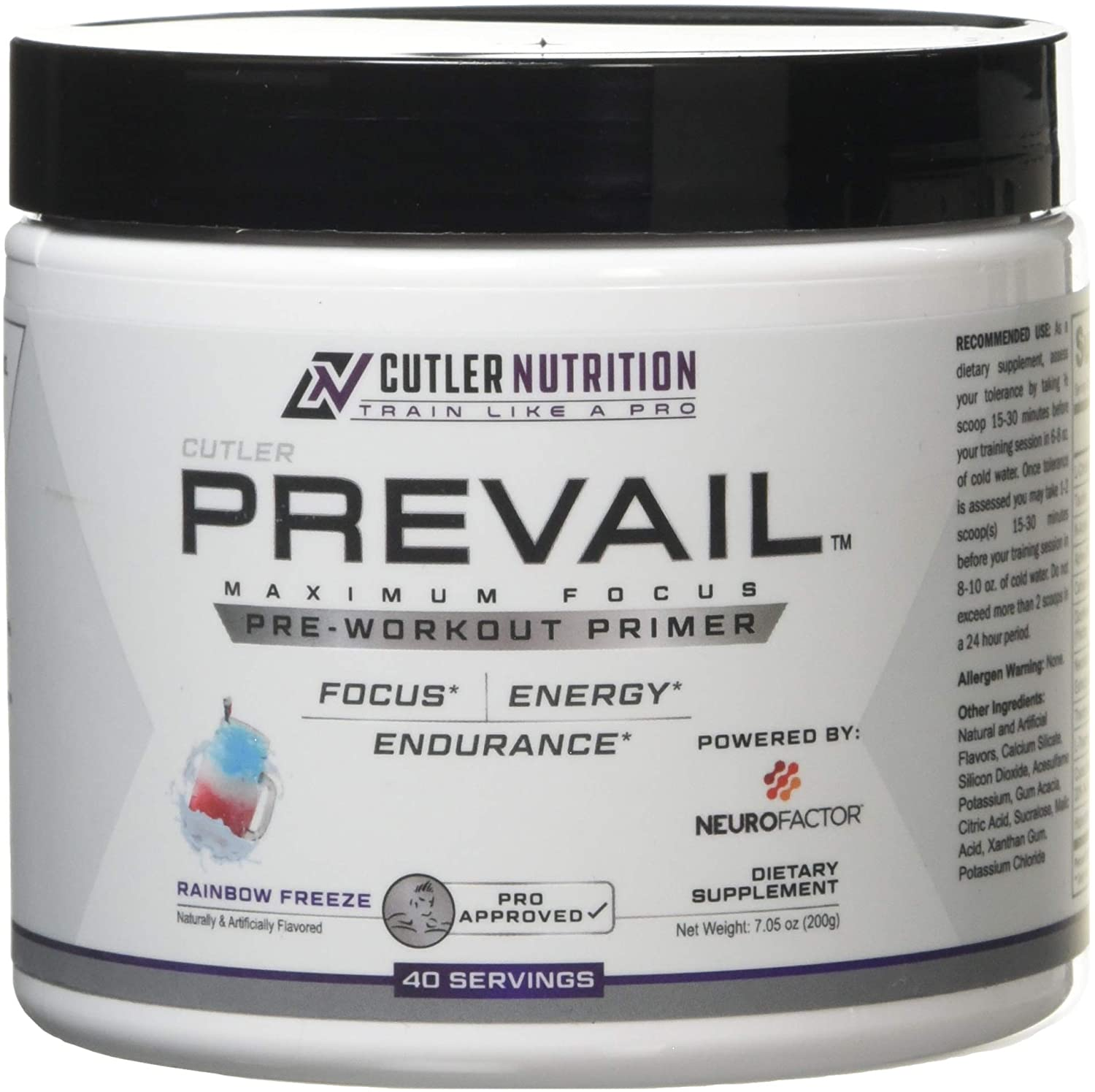Prevail Pre Workout Powder with Nootropics: Best Pre Workout for Men and Women, Cutting Edge Energy and Focus Supplement with L Citrulline, Alpha GPC, L Tyrosine, Neurofactor | Rainbow Freeze, 40 SRV