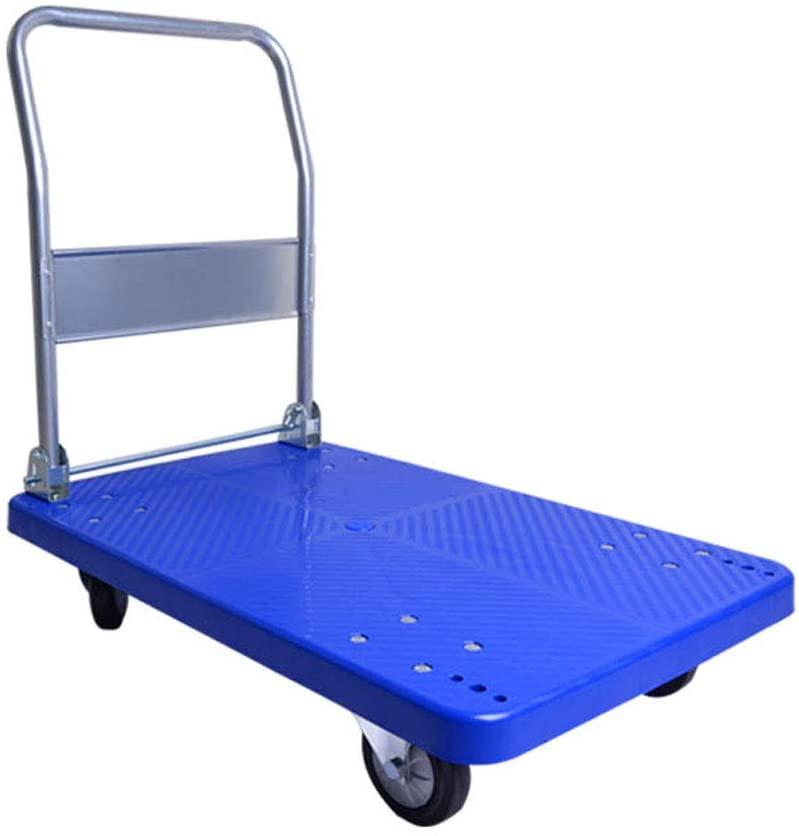 ZHHL Platform Trucks,Home Hand Trolley Folding Truck Cart Heavy Duty Flat Bed Transport Warehouse Office Garden 300kg-350kg (Size : A)