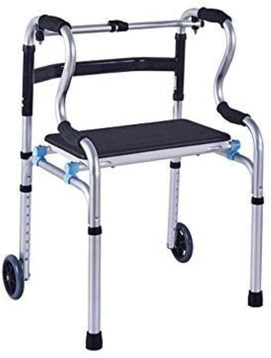 HTLLT Walking Aid Medical Instruments Compact Folding Walker - Elderly Folding Walker with Seat Belt Pulley - Height Adjustable Walker - Four-Legged Walking Stick