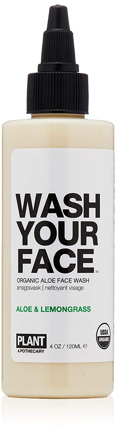 Plant Apothecary Wash Your Face Organic Face Wash - Usda Certified Organic, Vegan W/Rosemary and Lemongrass, 4