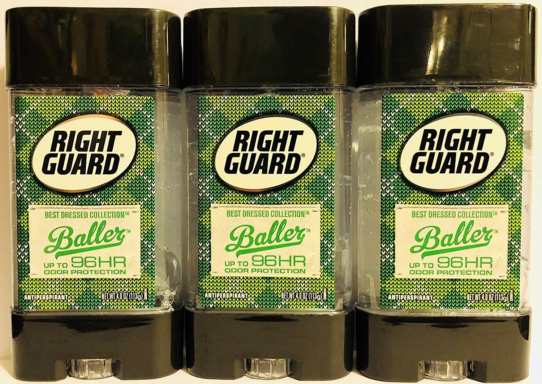 Right Guard Antiperspirant - Best Dressed Collection - Baller - Clear Gel - Net Wt. 4.0 OZ (113 g) Per Stick - Pack of 3 Sticks