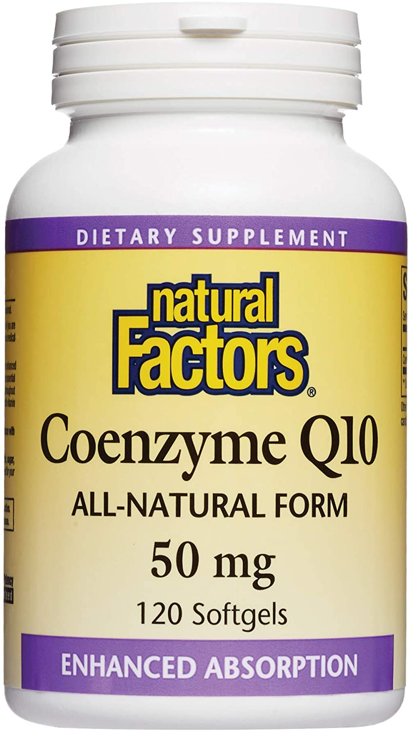 Natural Factors, Coenzyme Q10 50mg, CoQ10 Supplement for Energy, Heart and Antioxidant Support, Gluten Free, 120 softgels (120 servings)