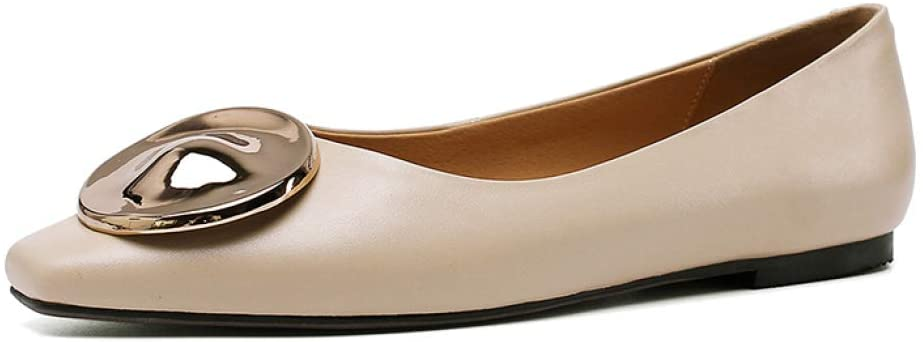 starttwin Women Classic Casual Elegant Square Toe Non - Slip Patent Leather Office Dress Flats Shoes