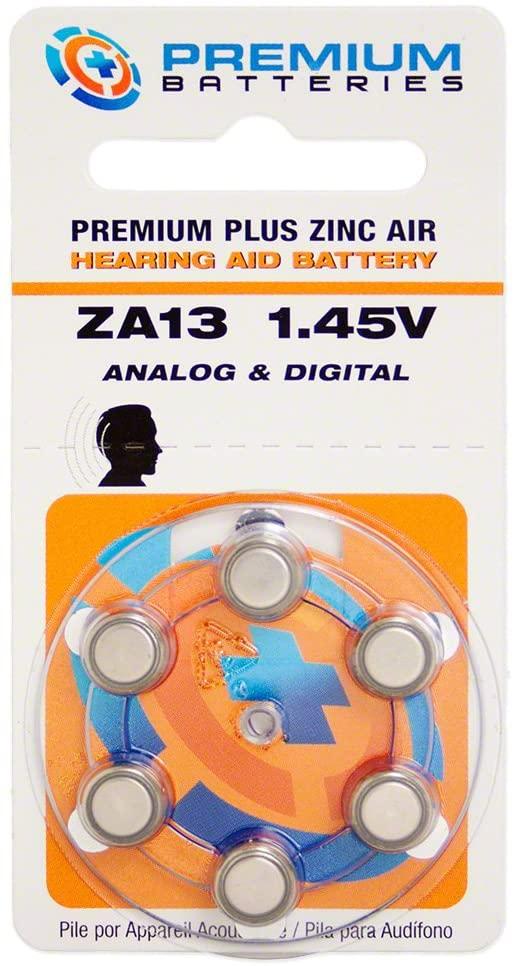 Premium Batteries Zinc Air Hearing Aid Batteries ZA13 1.45V Size 13, PR48, P13 (60 Batteries)