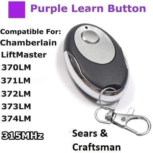 Control Transmitter Fit LiftMaster 370LM 371LM 372LM 373LM Craftsman 139.53753 Chamberlain 950D 953D 956D Compatible with Sears Garage Door Openers with Purple Learn Button 315MHz