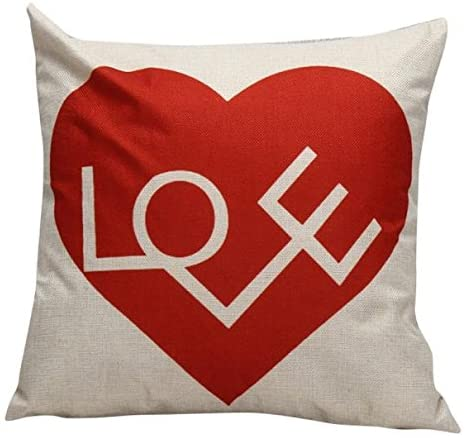 Yuelove Happy Valentine's Day Thanksgiving Decorative Pillow Covers Love Heart Series Burlap Square Couple Cushion Cases for Sofa Bedroom Car 45cmX45cm
