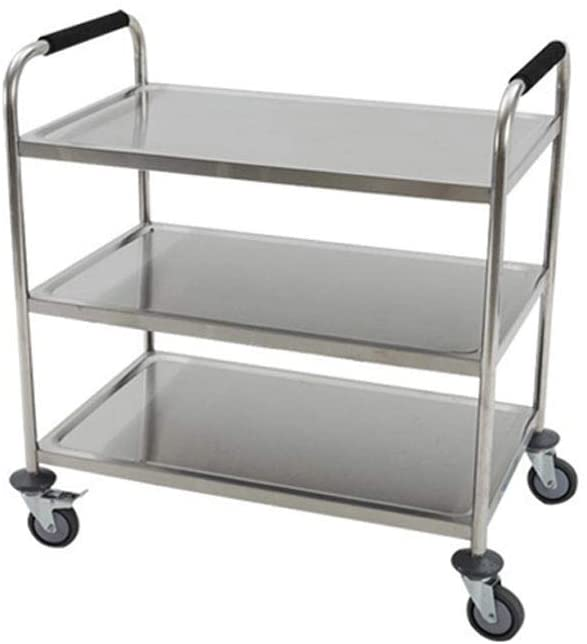 LHQ-HQ Shelf-Stainless Steel Delivery Car Mobile Restaurant With 3 Layers Collection Tableware Cart Multifunction practical (Size : 80 40 90cm) trolley
