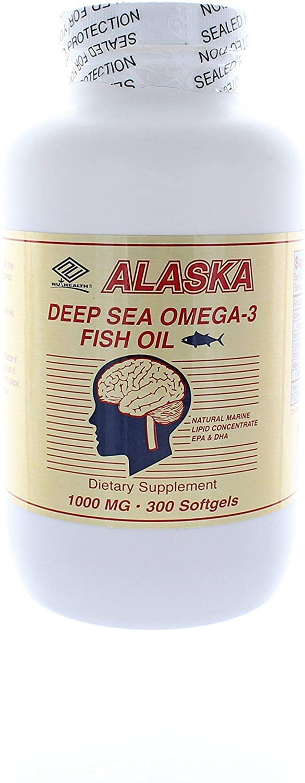 Nu Health Alaska Deep Sea Fish Oil Omega-3, 1000 Mg, 300 Capsules