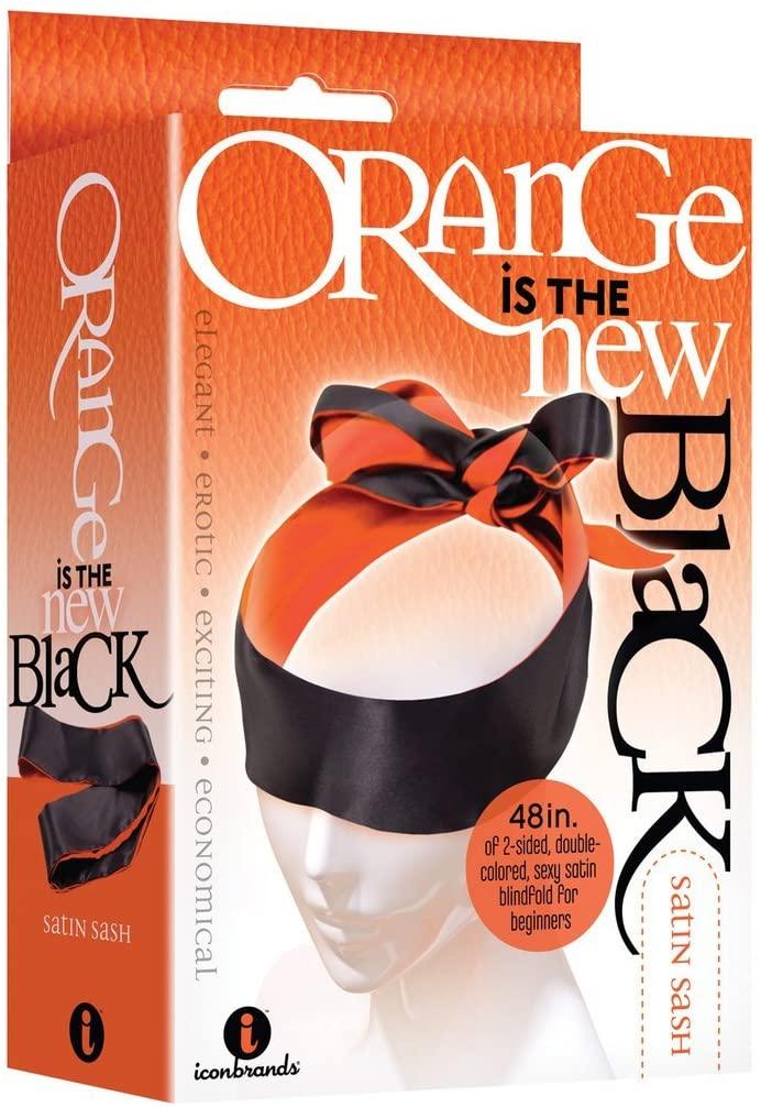 Icon Brands - The 9's, Orange is The New Black, Satin Sash, Reversible Blindfold/Restraint, BDSM Toy