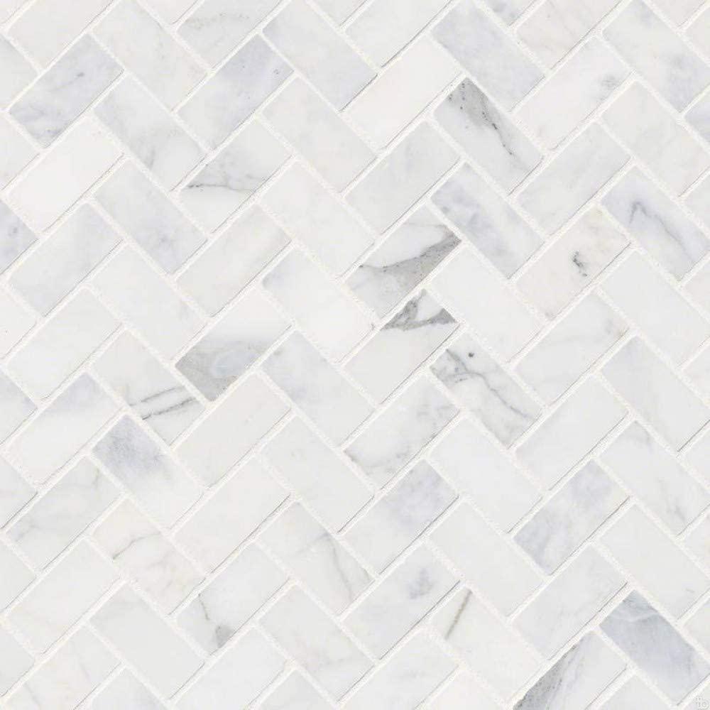 Calacatta Cressa Herringbone Pattern Honed Mosaic, 9.4 SFT/case, (10 Pcs)