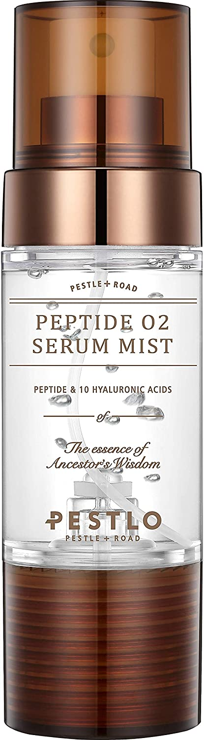 PESTLO Peptide O2 Serum Mist (1.52 fl.oz./45ml)   Anti-Wrinkle, Hydrating, Brightening, and Glowing Skincare   Made with 10 Hyaluronic Acids, Peptide, Niacinamide, Adenosine, Pine Bark Extract