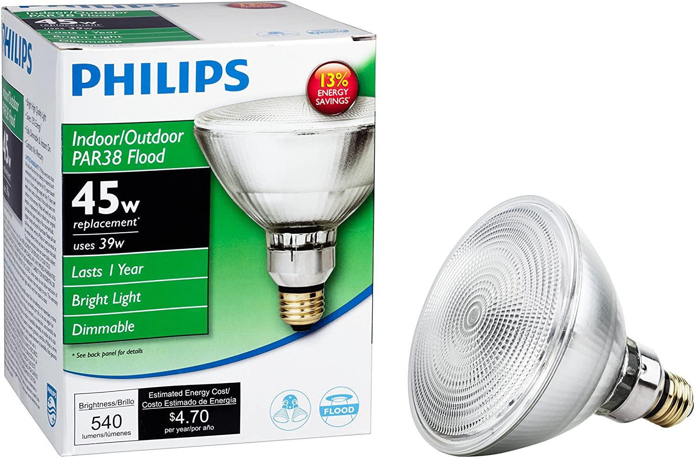 Philips 419424 Halogen PAR38 45 Watt Equivalent Flood Dimmable Standard Base Light Bulb