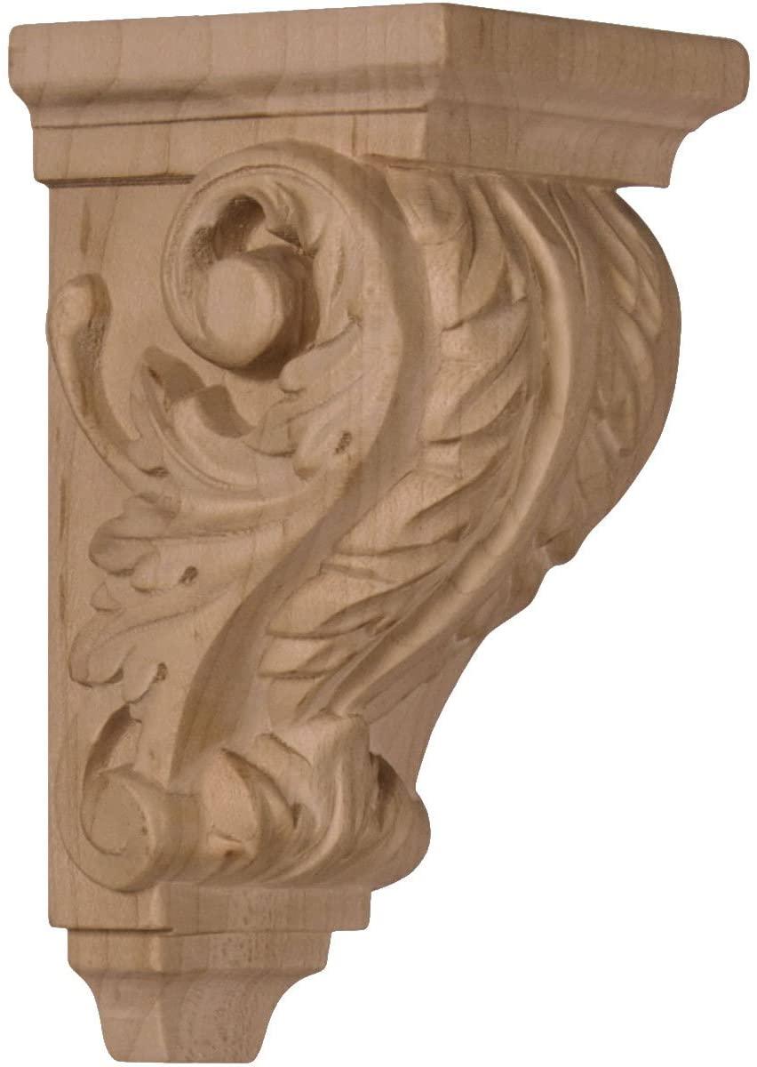Ekena Millwork CORW02X02X04ACWA-CASE-4 2 1/4 inch W x 2 1/4 inch D x 4 1/4 inch H Extra Small Acanthus Wood Corbel, Walnut (4-Pack),