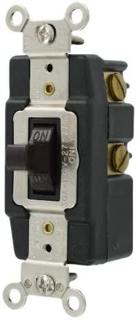 Leviton 1287 30-Amp 120-Volt Toggle AC Quiet Switch, Brown