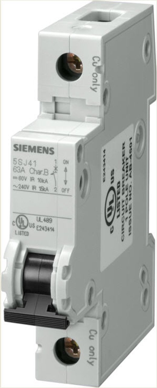 Siemens 5SJ41187HG40 Miniature Circuit Breaker, UL 489 Rated, 1 Pole Breaker, 15 Ampere Maximum, Tripping Characteristic C, DIN Rail Mounted, Type HSJ, 240 VAC, 60 VDC
