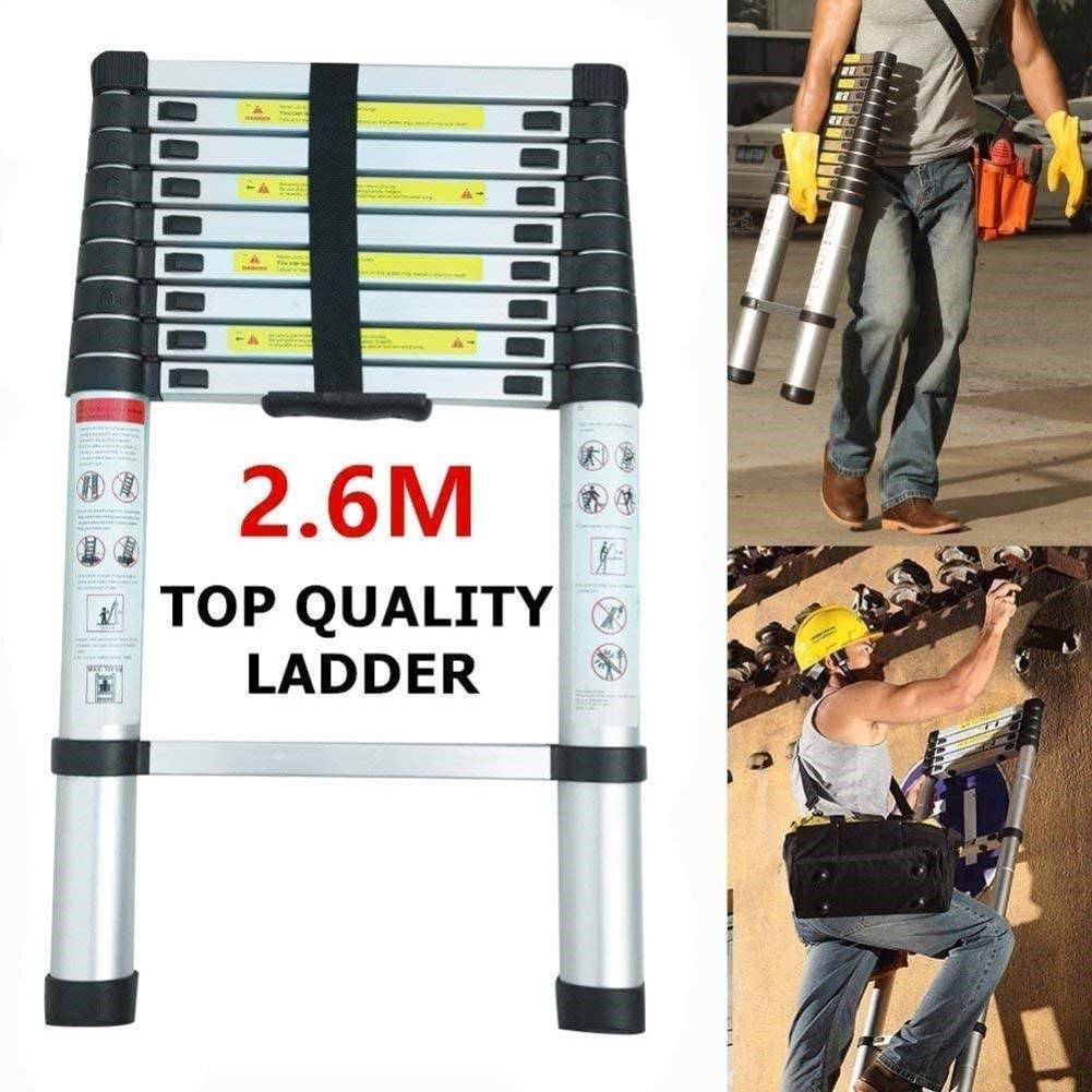 LADDERS 2.6M Folding Ladder Telescopic Lightweight for Home and Kitchen Multi Purpose Portable Stool Ladders
