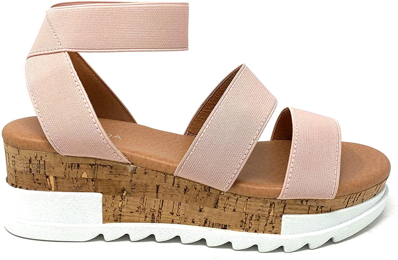 TOP Moda Tobias-1 Womens Elastic Strappy Lug Sole Platform Sandals