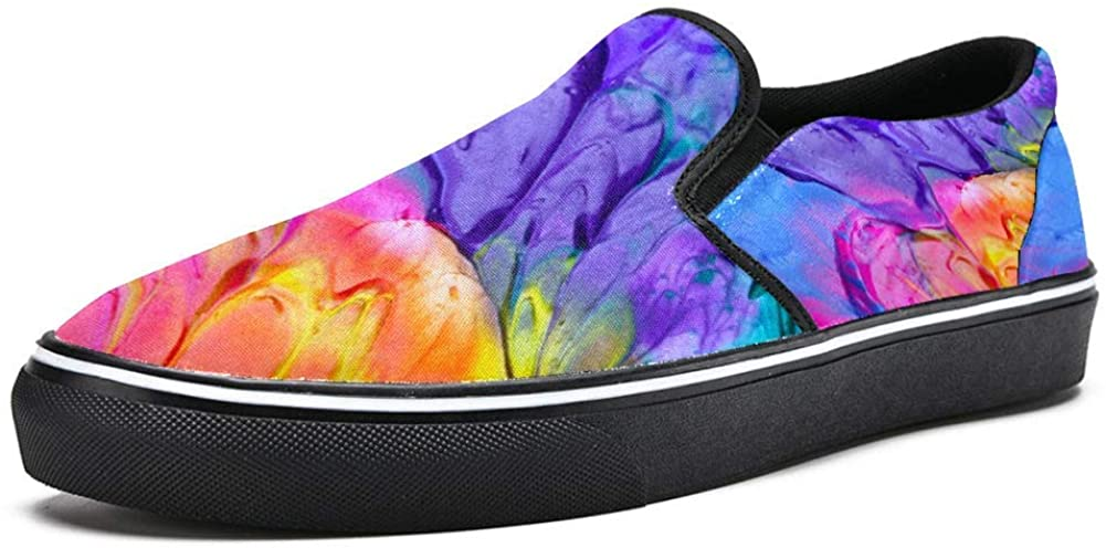 Colorful Tie Dye Rainbow Paint Canvas Shoes Lightweight Loafers Shoe for Woman