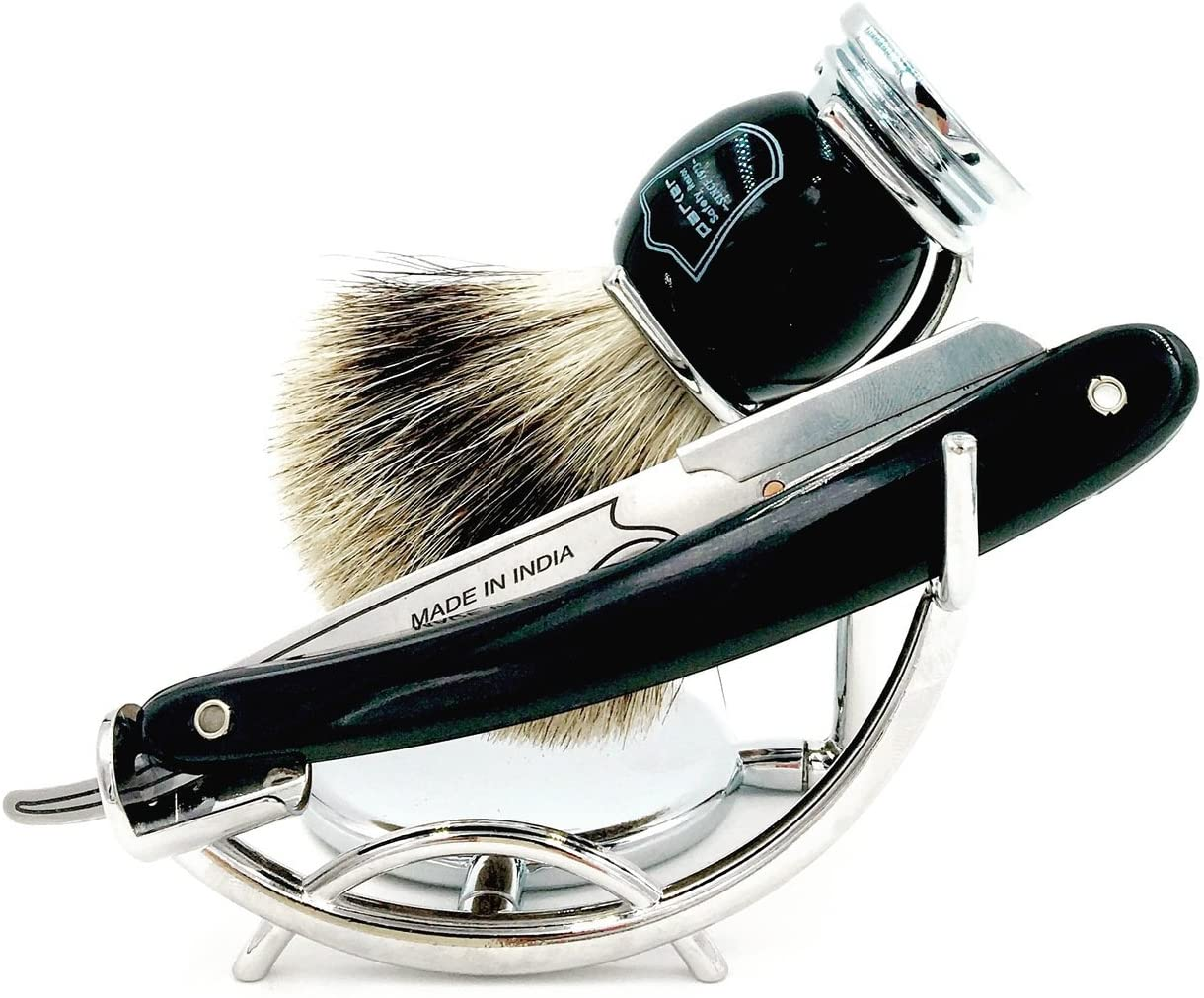 Parkers SRB Replaceable Blade Straight Edge Barber Razor Shave Set - Includes Parkers 100% Pure Badger Brush, Low Profile Chrome Shave Stand, Parker SRB Shavette Razor and 100 Razor Blades