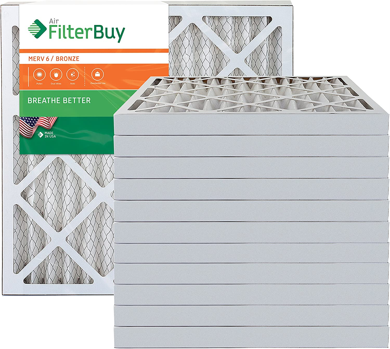 AFB Bronze MERV 6 24x24x2 Pleated AC Furnace Air Filter. Pack of 12 Filters. 100% produced in the USA.