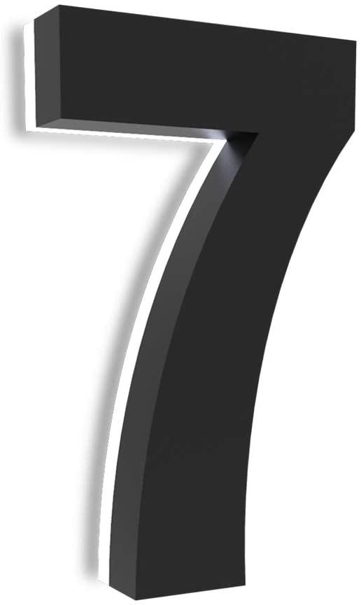 5 Inch LED House Number, 12V Modern Backlit LED Address Signs, Stainless Steel, Waterproof House Number with Lights for Hotels, Garages, Black (7)