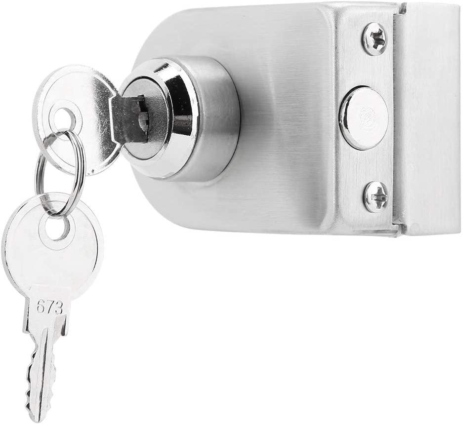 Glass Door Lock, Stainless Steel Single Glass Door Latch with Keys Ground Lock Anti-Theft Security Door Lock for Bathroom Toilet Shop Glass Doors