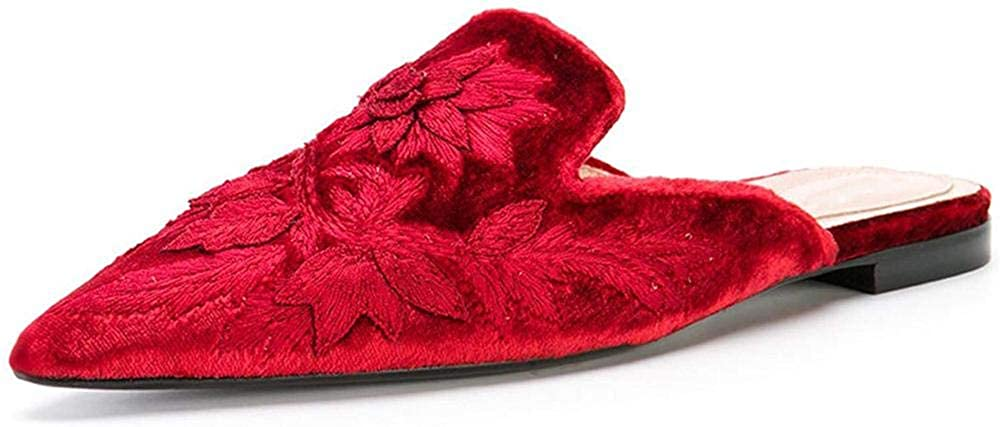 Axellion Loafers for Women,Embroidery Mules Velvet Backless Slip On Loafers Pointed Toe Flat Mule Slides