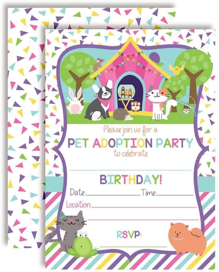 Plush Stuffed Animal Adoption Themed Birthday Party Invitations for Kids, 20 5