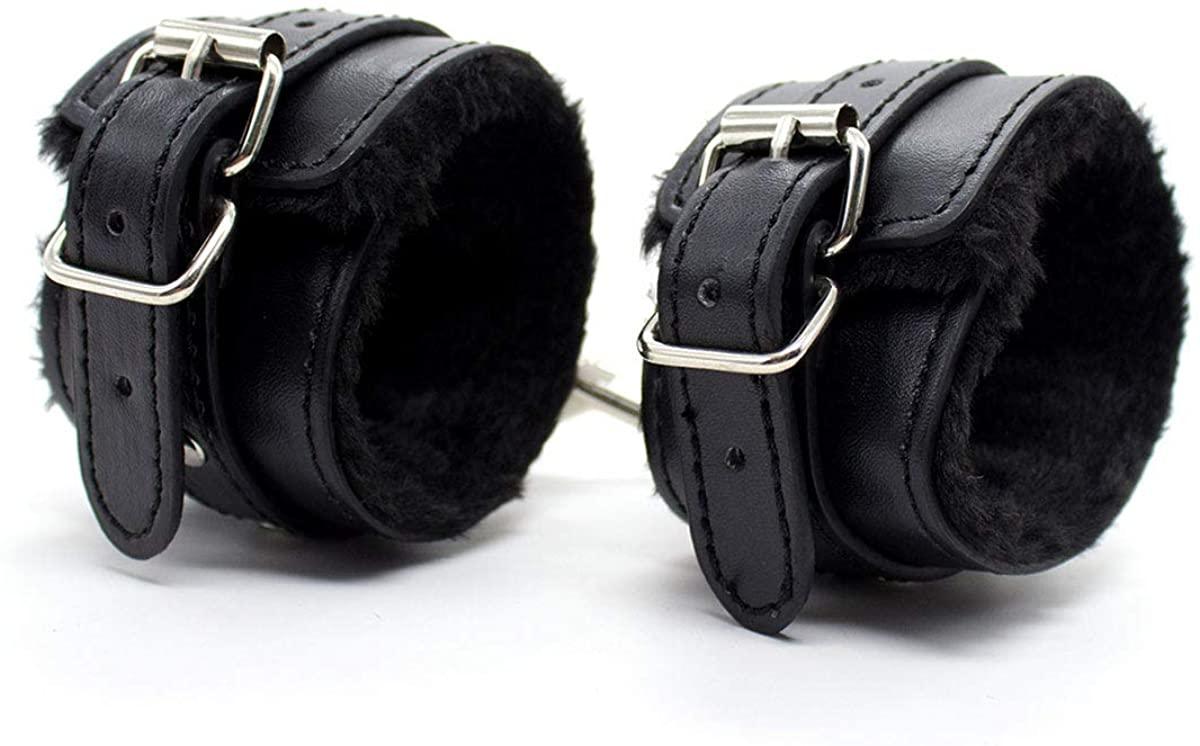 Wyenliz Handcuffs Soft Fur Faux Leather Adjustable