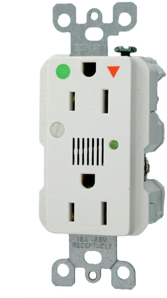 Leviton 8280-IGW 15-Amp 125-Volt Decora Plus Duplex Receptacle, White