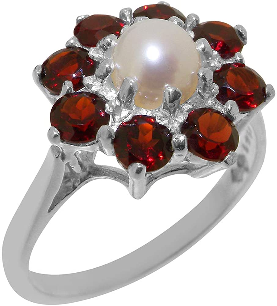 Solid 925 Sterling Silver Cultured Pearl & Garnet Womens Cluster Ring - Sizes 4 to 12 Available