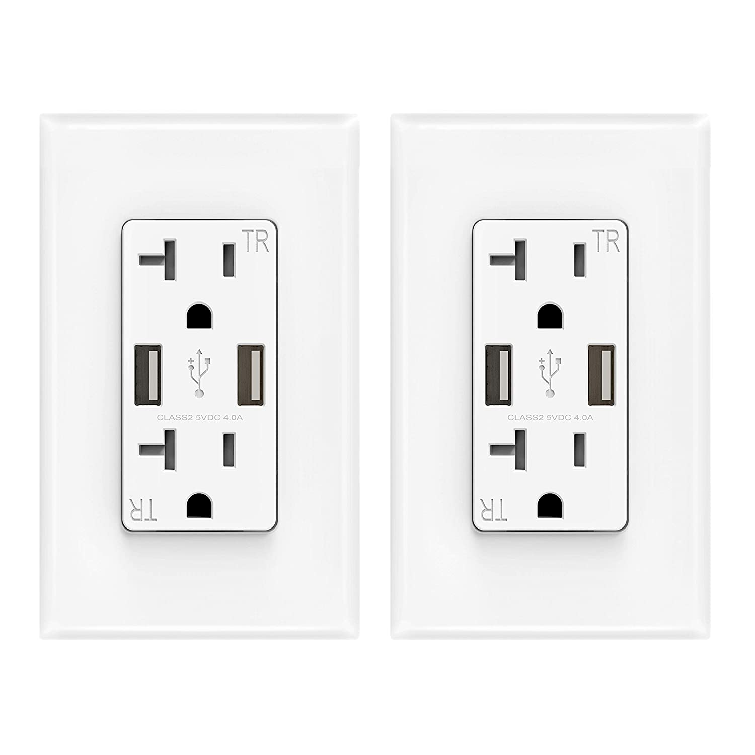 ELEGRP USB Charger Wall Outlet, Dual High Speed 4.0 Amp USB Ports with Smart Chip, 20 Amp Duplex Tamper Resistant Receptacle Plug, Wall Plate Included, UL Listed (2 Pack, Glossy White)