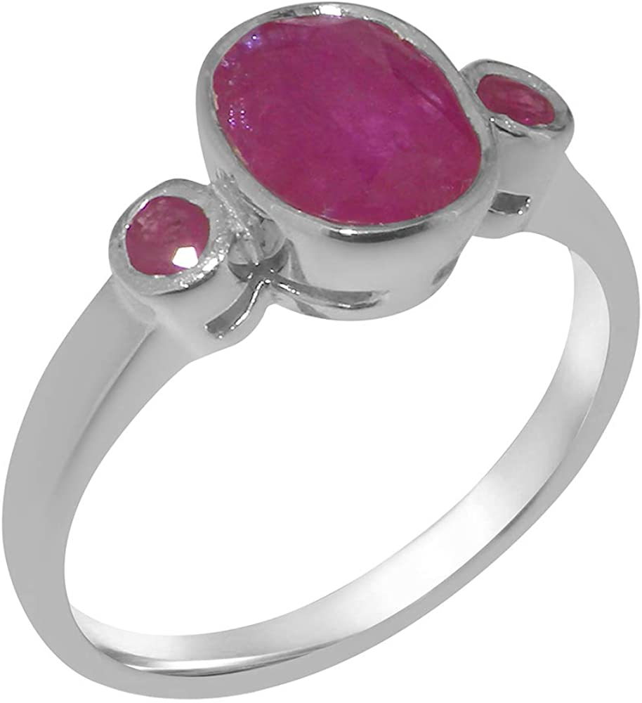 Solid 18k White Gold Natural Ruby Womens Trilogy Ring - Sizes 4 to 12 Available