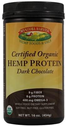 Manitoba Harvest Organic Dark Chocolate Hemp Protein Powder, 16 Ounce -- 3 per case.