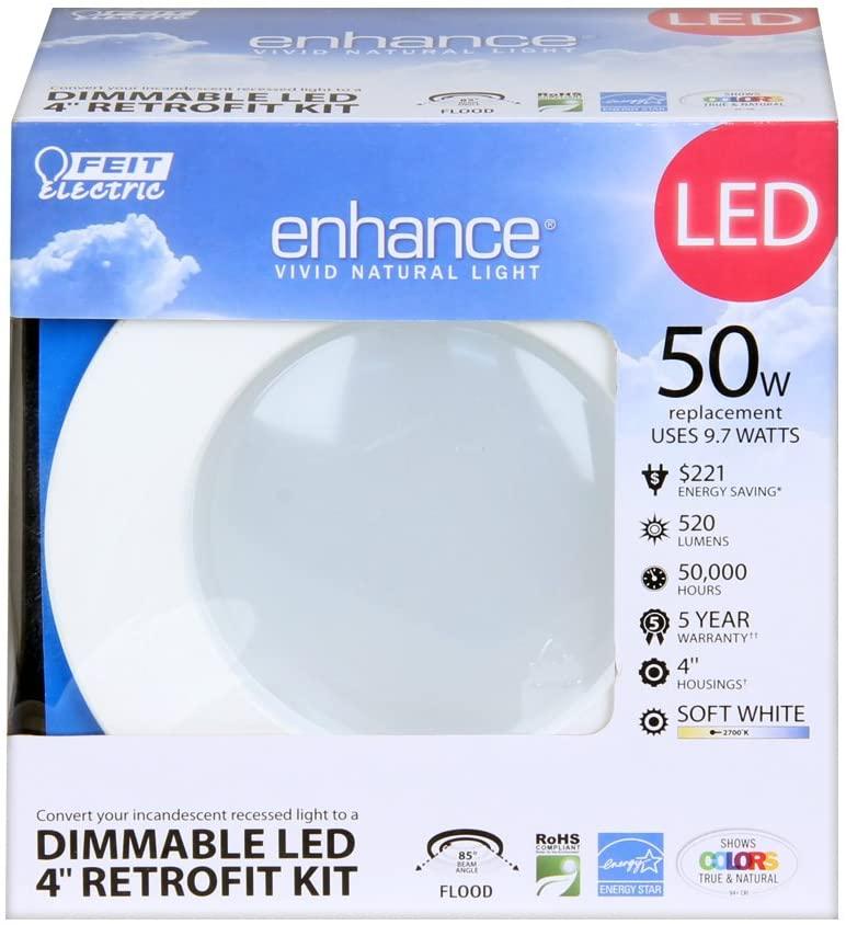 Feit Electric LEDRT4/927 Enhance High Color Rendering Index Led Retrofit Kit Recessed Light, Warm White-4 inch